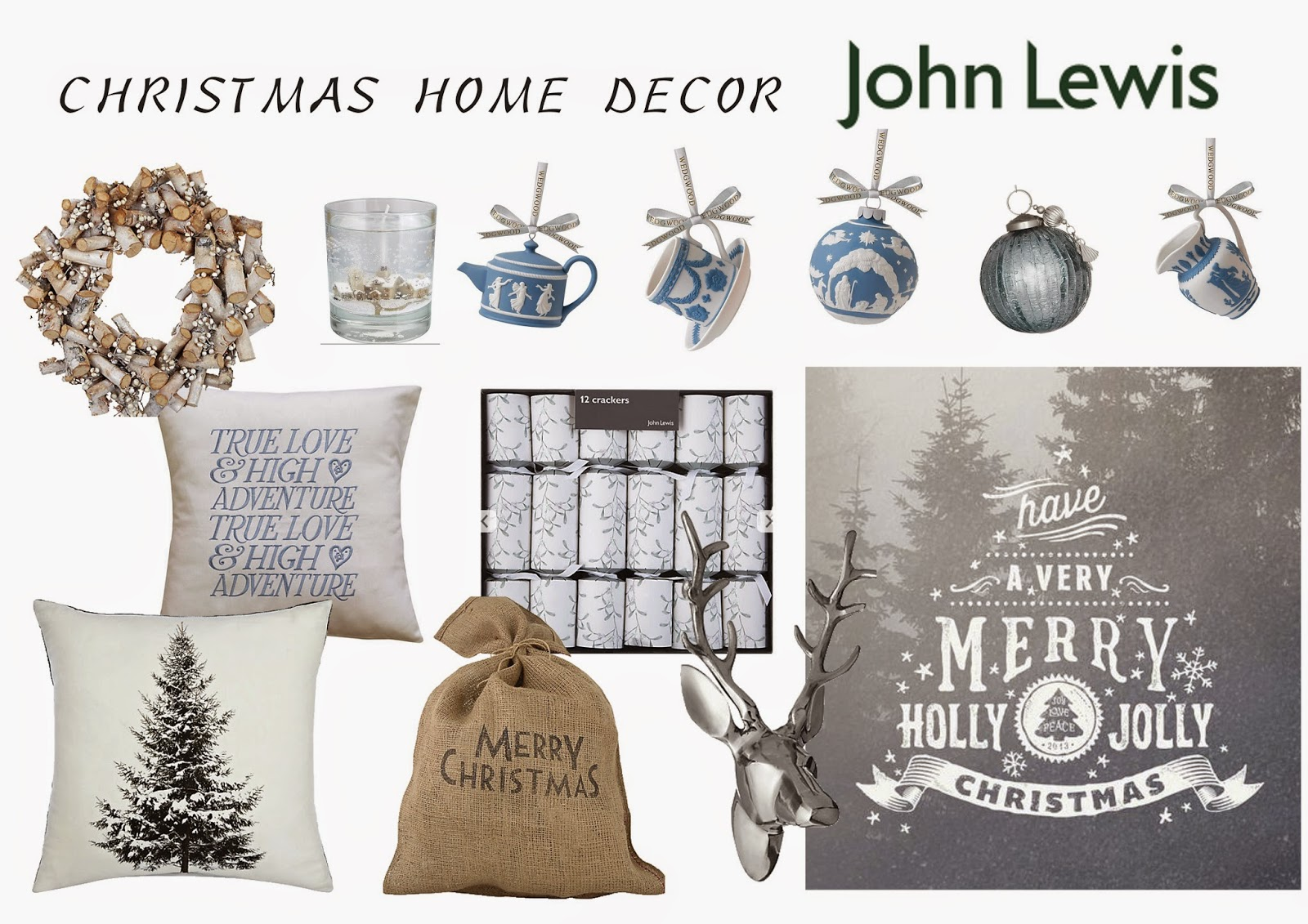 BLUE AND WHITE CHRISTMAS HOME DECOR FT. JOHN LEWIS