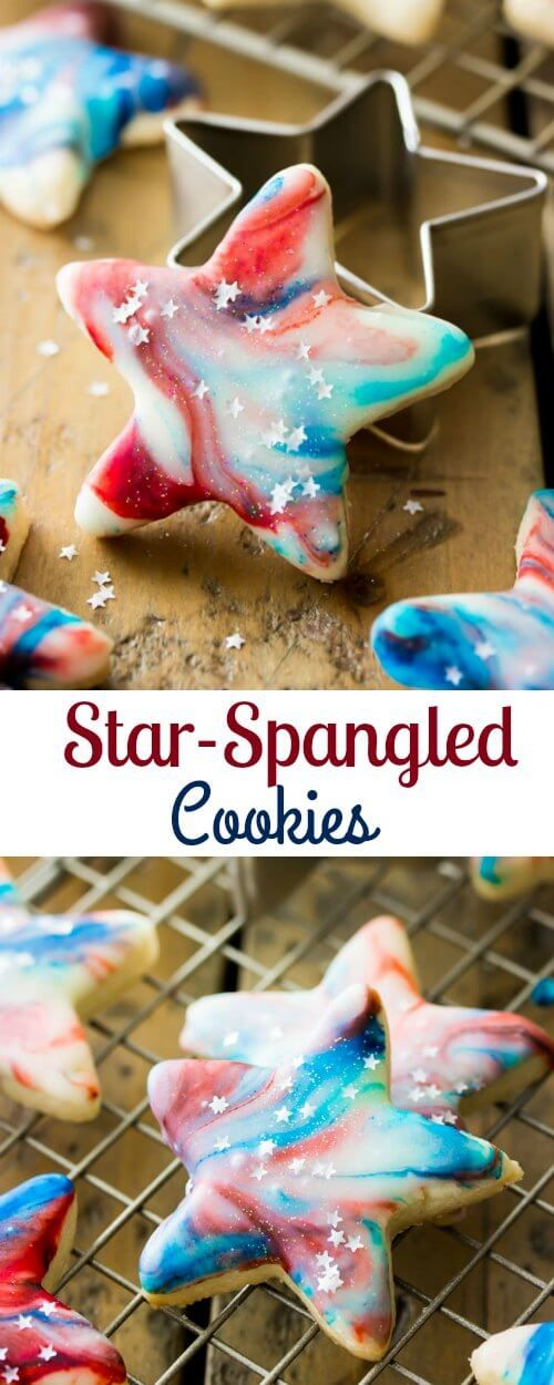 Festive red white and blue star-spangled cookies that are perfect as a memorial day or fourth of July patriotic celebration dessert.