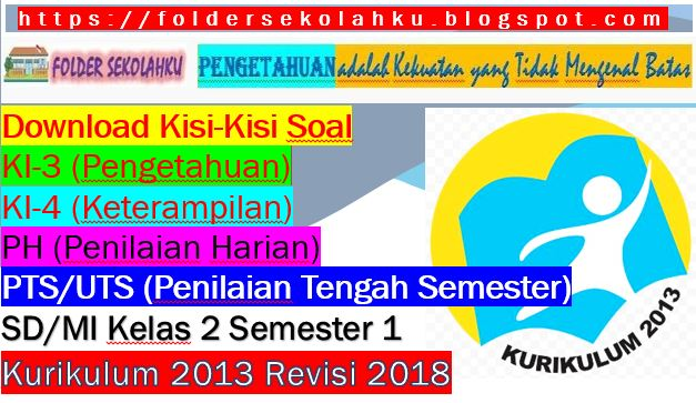 Download Kisi-Kisi Soal KI-3, KI-4, PH, PTS/UTS SD/MI Kelas 2 Semester 1 Kurikulum 2013 Revisi 2018, https://foldersekolahku.blogspot.com