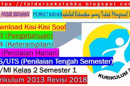 Download Kisi-Kisi Soal KI-3, KI-4, PH, PTS/UTS SD/MI Kelas 2 Semester 1 Kurikulum 2013 Revisi 2018