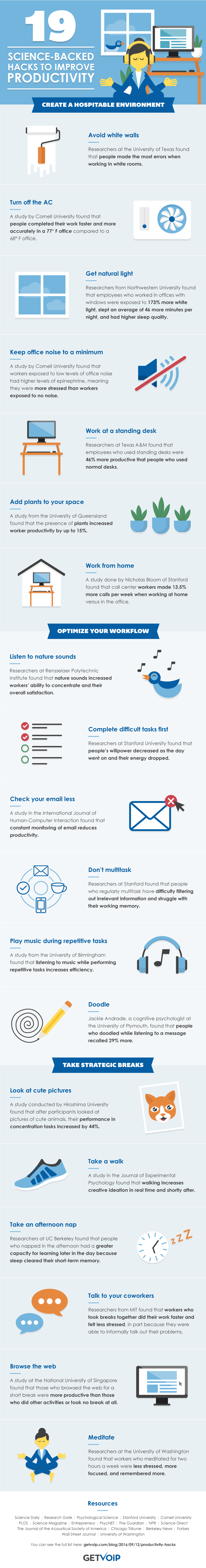 19 Simple Tips to Increase Productivity at the Office #Infographic