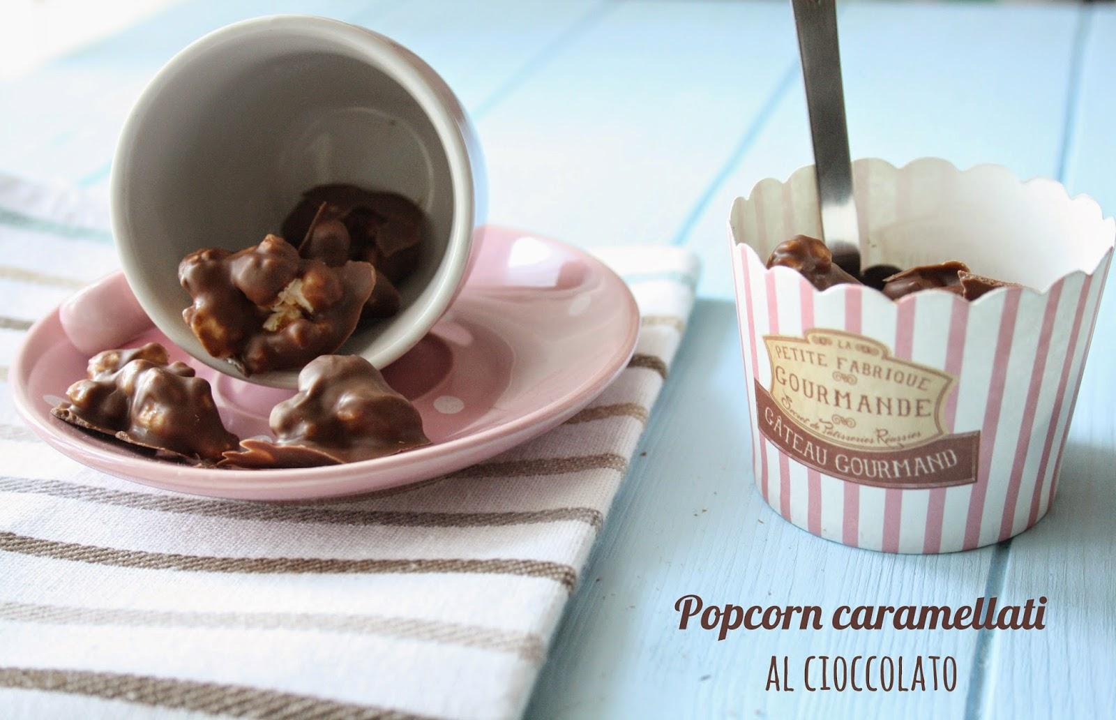popcorn caramellati al cioccolato