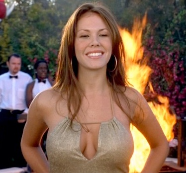 Nikki Cox smiling and showing her breasts in a tight gold top with flames behind her in Run Ronnie Run movieloversreviews.filminspector.com