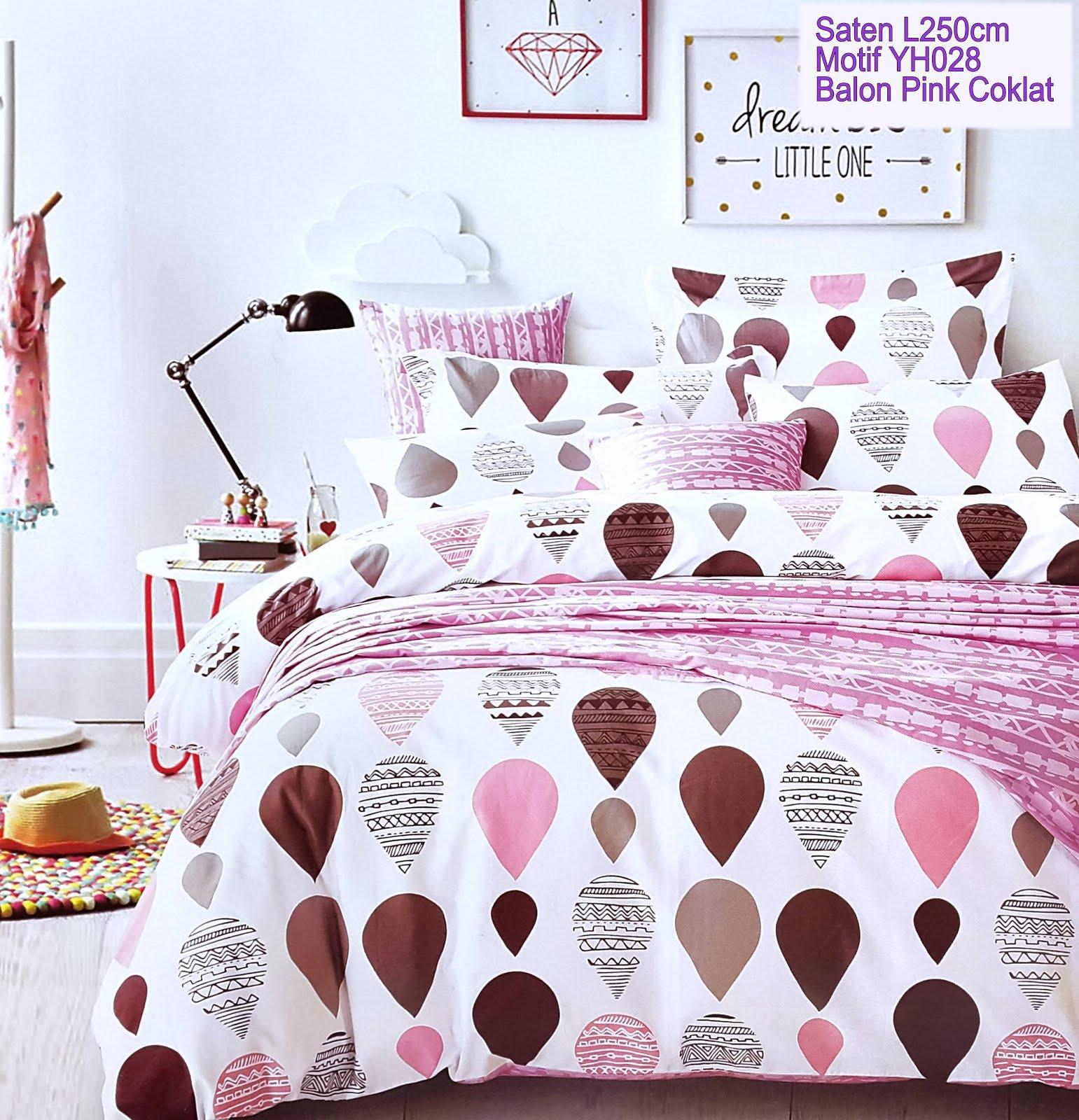 Sprei Motif Balon Pink Coklat