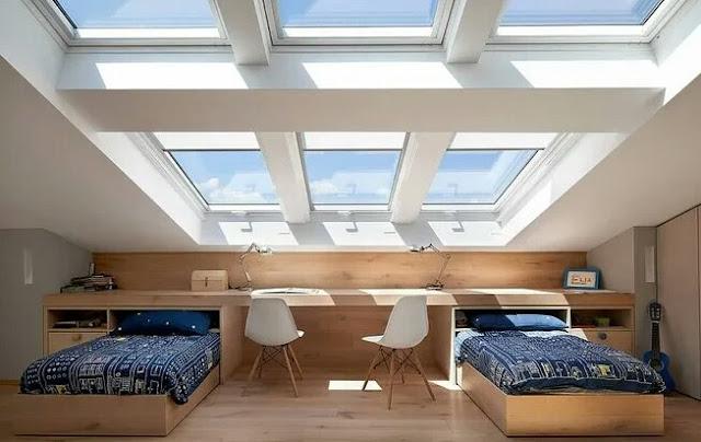 Attic bedroom for two teenage children