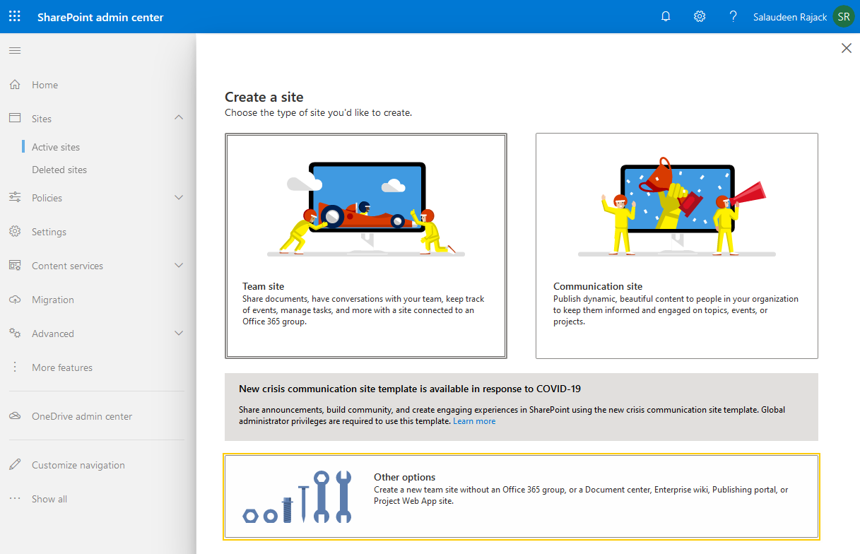 sharepoint online create a classic site