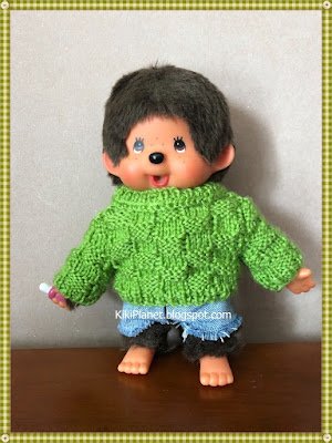 kiki monchhichi pull tricot handmade fait main knitting sweater doll poupée