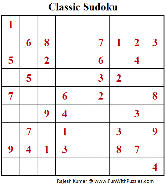Classic Sudoku Puzzle (Fun With Sudoku #205)