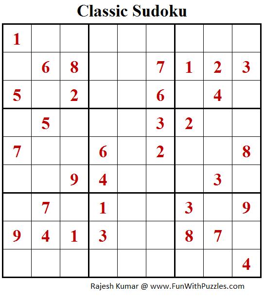 Classic Sudoku Puzzle (Fun With Sudoku #205)
