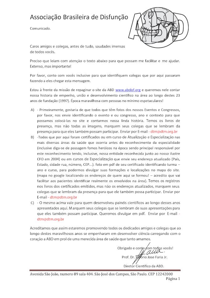 Contribua com a construção do site da Associação Brasileira de Disfunção