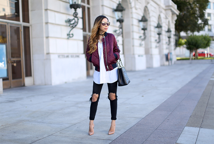 Topshop quilted bomber jacket, bomber jacket, quilted bomber jacket, everlane shirt, choker, chanel grand shopping tote, christian louboutin so kate pumps, ripped jeans, quay sunglasses, summer in san francisco, san francisco summer style, summer style, nordstrom anniversary sale