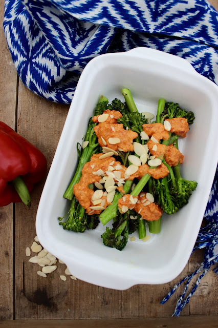 tenderstem broccoli with romesco pepper sauce
