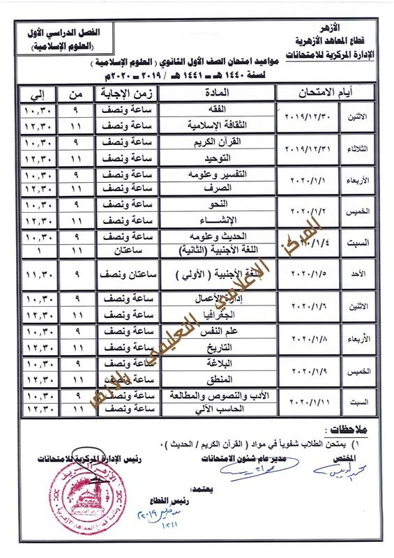 جدول مواعيد امتحانات صفوف ابتدائي واعدادي وثانوي 2019-2020 بالازهر 304