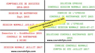 Examens Corrigés Comptabilité des stés semestre 4 de faculté d'Ouajda