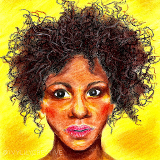 Afro girl soft pastel drawing
