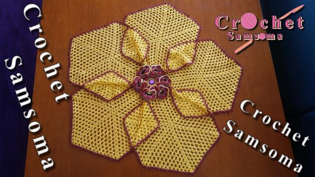 hexagon granny crochet. كروشيه مفرش . كروشيه مفرش بسيط بسداسيات الجراني  . طريقة عمل مفرش كروشيه بسيط . كروشيه مفرش سهل وبسيط بسداسية الجراني . كروشيه مفرش ترابيزة .