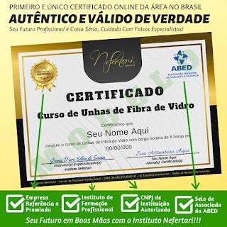 Ao concluir o curso você receberá um certificado de ESPECIALISTA EM TÉCNICA DE UNHAS DE FIBRA DE VIDRO