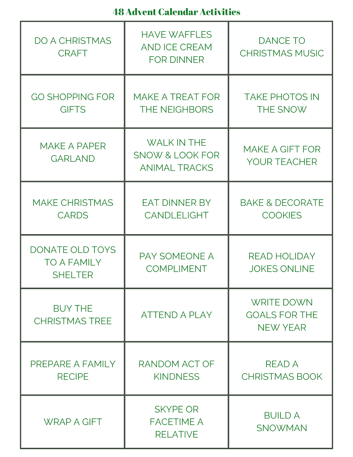 ideas for advent calendar gifts, advent calendar fillers, advent activity ideas, advent activities for families