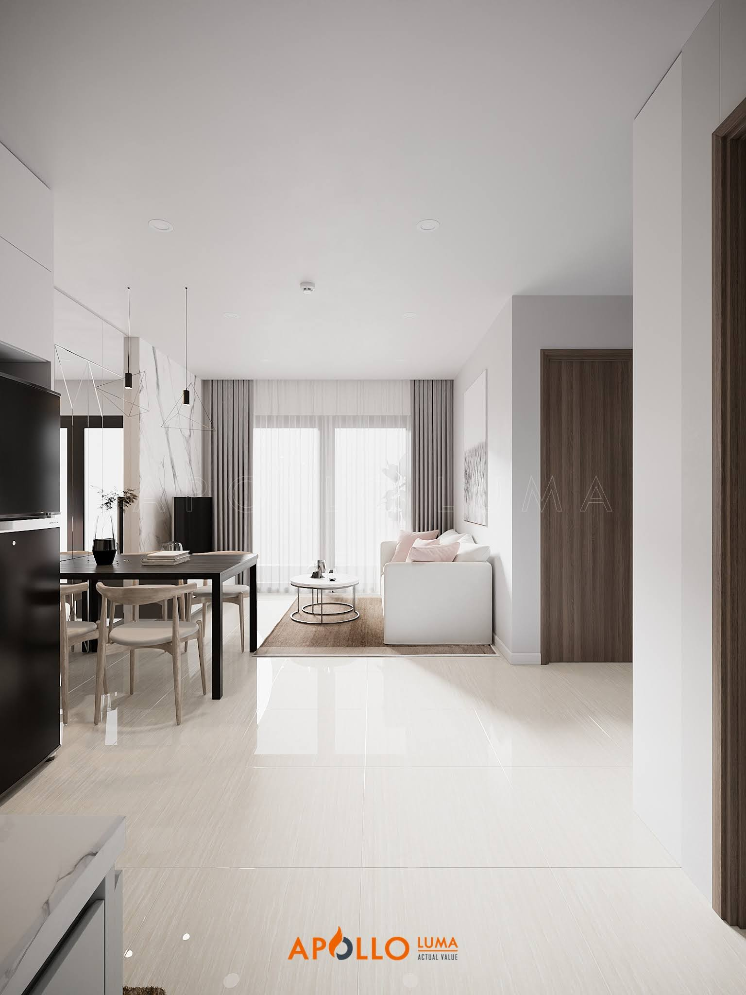 Thiết kế nội thất căn 43m2 (1PN+1) S3.03-18 Vinhomes Smart City Tây Mỗ