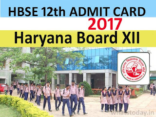 HBSE 12th Class Admit Card 2017, Haryana Board 12th Admit Card 2017