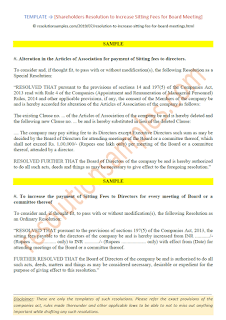 special resolution for increase in sitting fees for board meeting