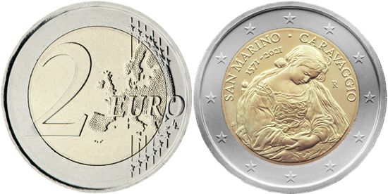 San Marino 2 euro 2021 - Caravaggio