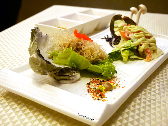 Elite Duo Combinations Platter: Crispy Canadian Oyster and Hokkaido Crab Leg Salad with Avocado