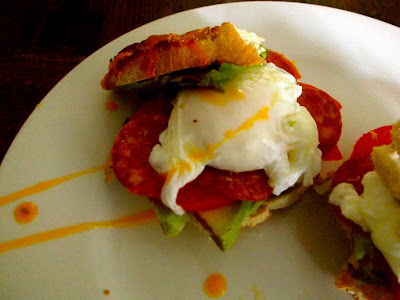 Breakfast Sandwich - Pepperoni, Avocado, Tomato & Poached Eggs