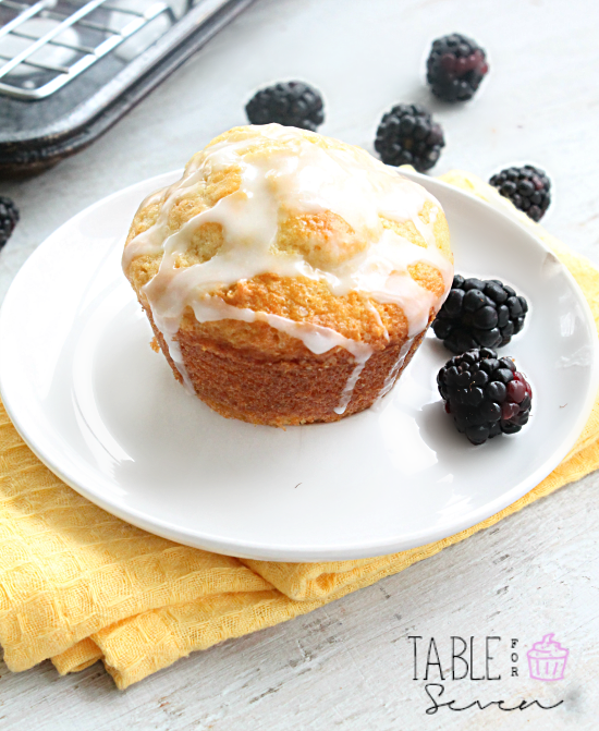 Blackberry Muffins with Lemon Glaze