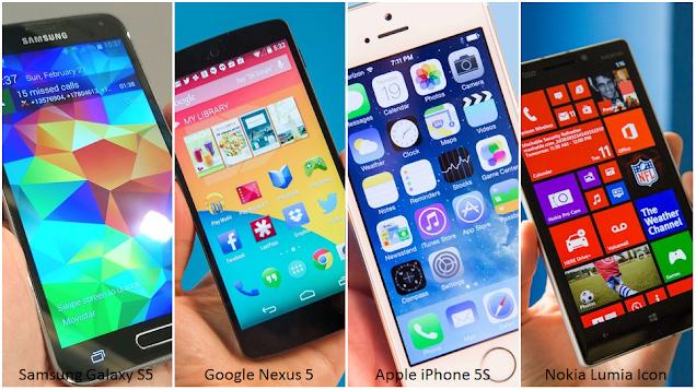 Galaxy S5 vs Nexus 5, iPhone 5S, Lumia Icon Specs Comparison Chart