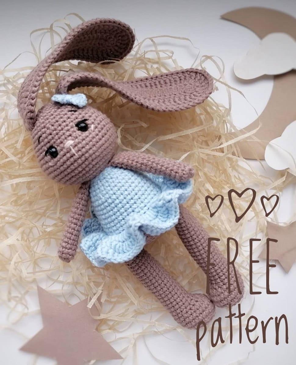 Coelhinho de crochê em padrão sem vestido