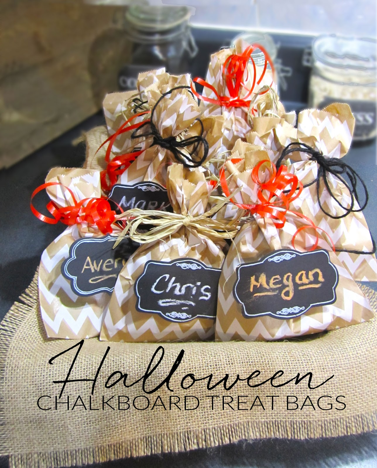 DIY crafts chalkboard halloween gift treat bags