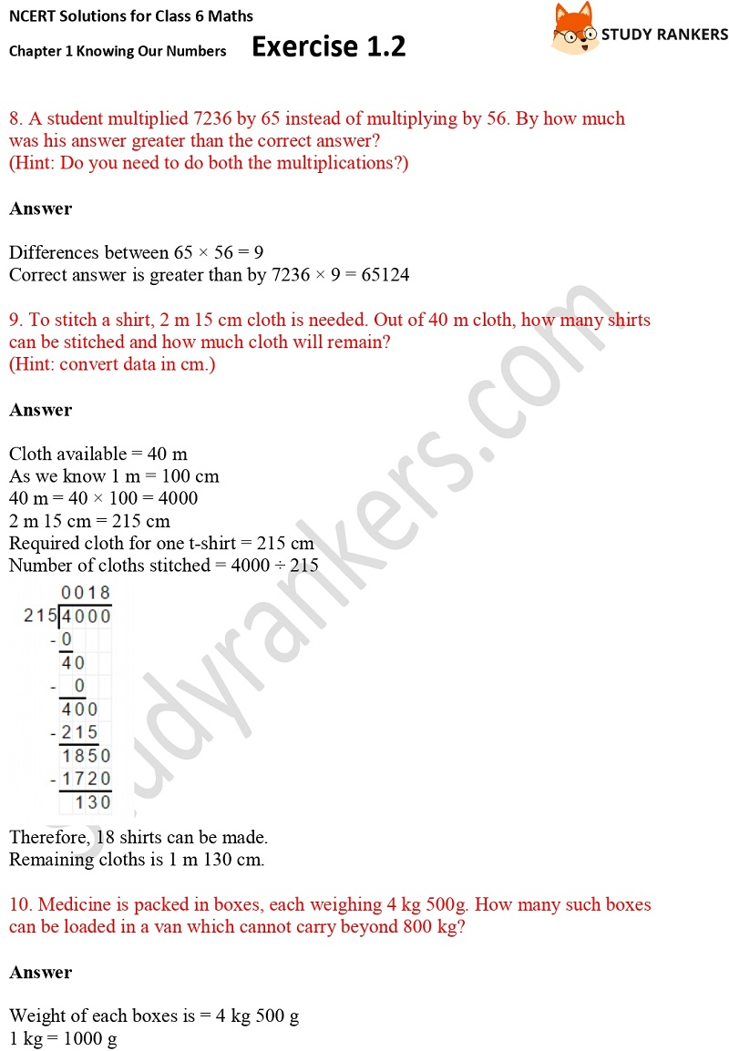 NCERT Solutions for Class 6 Maths Chapter 1 Knowing Our Numbers Exercise 1.2 Part 3
