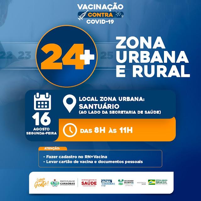 Em Caraúbas Jovens de 24 anos serão imunizados na próxima segunda-feira