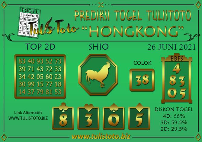 Prediksi Togel HONGKONG TULISTOTO 26 JUNI 2021