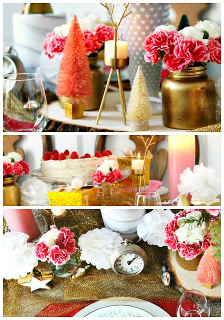 stars, carnations, gold, silver, white, Holiday, Tablescape, At Home With Jemma