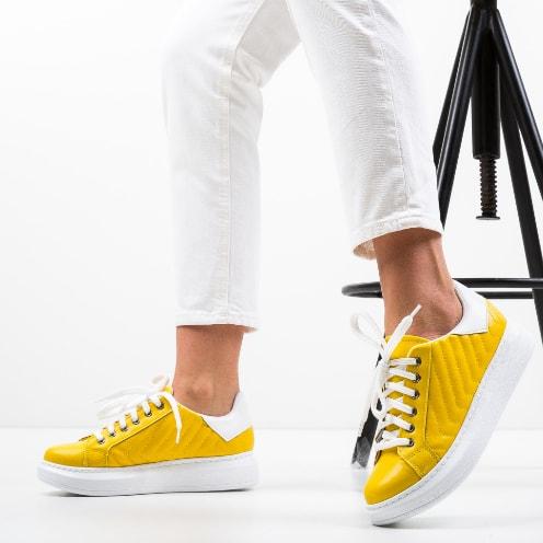 Pantofi sport galbeni de femei frumosi si la reducere