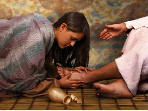 Maria derrama perfume sobre Jesus