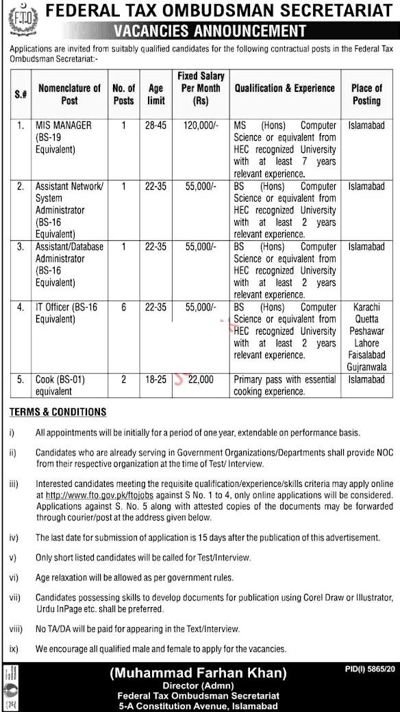 Latest Jobs in Federal Tax Ombudsman Secretariat Islamabad 2021