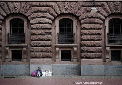 photo of Greta Thunberg's first school strike for Climate, outside the Swedish Parliament, August 20, 2018