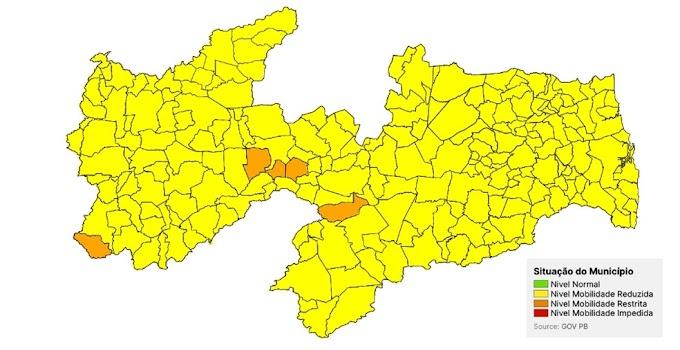 Plano Novo Normal: Amparo e mais 217 cidades da Paraíba estão em bandeira amarela