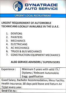Dynatrade Automotive Company Requirements ITI and Diploma Holders For Mechanic, Painter, Denter, Electrician, AC Mechanic in Dubai