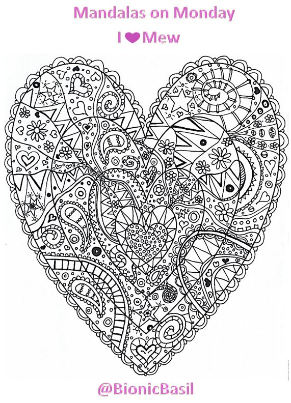 Mandalas on Monday #114 ©BionicBasil®I Heart Mew Colouring With Cats