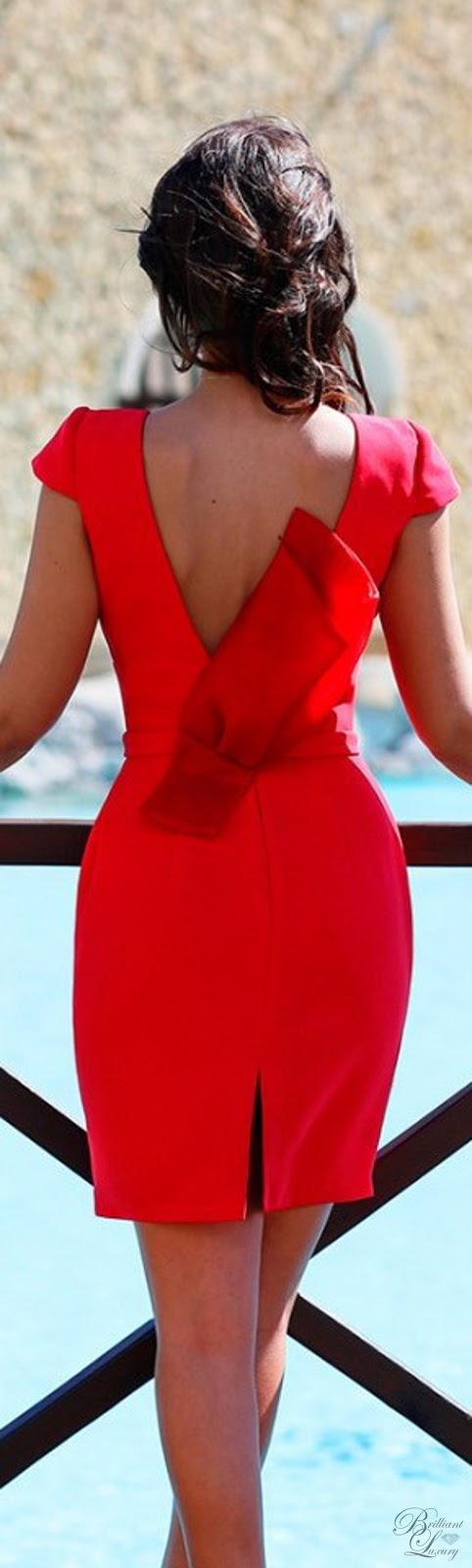 Brilliant Luxury ♦ Silvia Navarro feminine red Coral dress