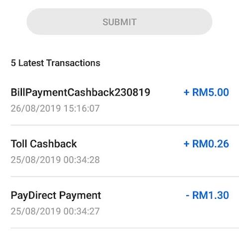 Dapat Cash Back Dengan Touch 'n Go E-wallet