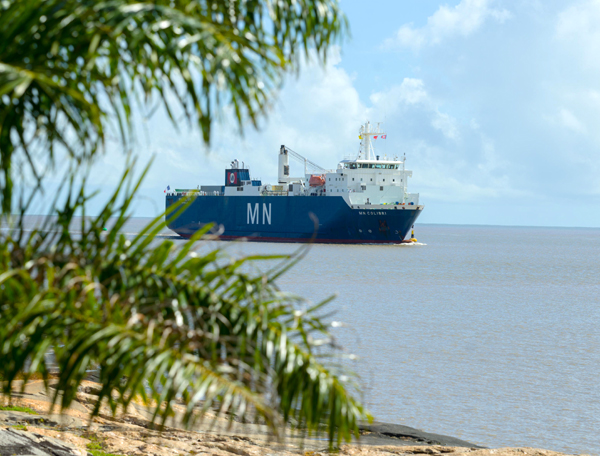 Carrying NASA's James Webb Space Telescope within her cargo hold, the French vessel MN Colibri arrives at French Guiana in South America...on October 12, 2021.