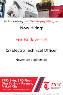 SEAMAN JOB INFO - Available hiring jobs for Electrician hardworking and passionate Filipino seafarers deployment November-December 2018 on bulk carrier vessel.