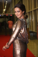 Actress Catherine Tresa in Golden Skin Tight Backless Gown at Gautam Nanda music launchi ~ Exclusive Celebrities Galleries 058.JPG
