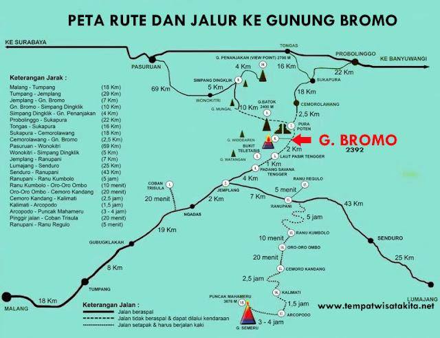 Peta rute lokasi jalur dan jarak ke Gunung Bromo