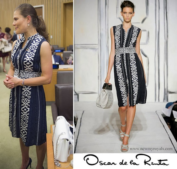 Crown Princess Victoria wore OSCAR DE LA RENTA Dress